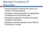manifest functions of education