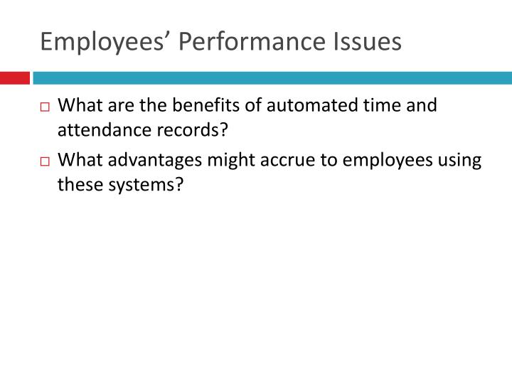 Employees' Performance Issues