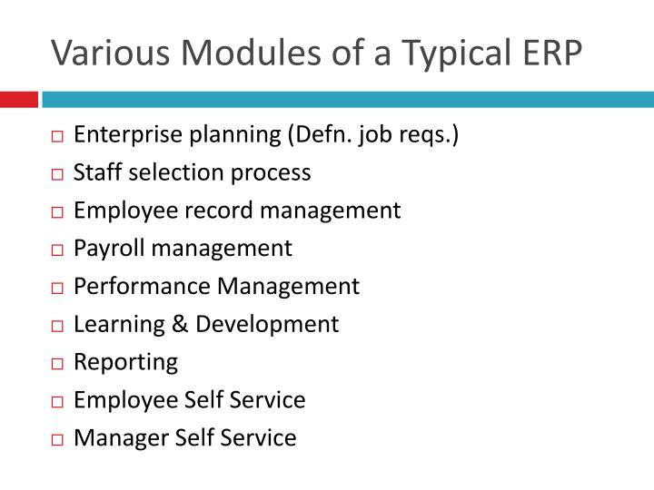 Various Modules of a Typical ERP