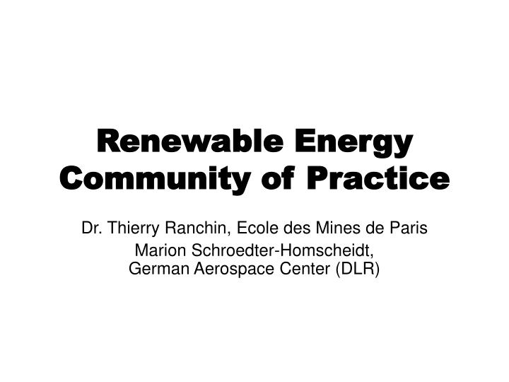 renewable energy community of practice n.