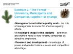 example 2 the forest university municipality and companies together for change
