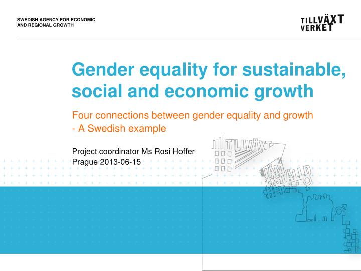gender equality for sustainable social and economic growth n.