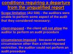 conditions requiring a departure from the unqualified report1