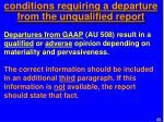 conditions requiring a departure from the unqualified report2