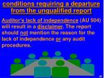 conditions requiring a departure from the unqualified report3