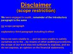 disclaimer scope restriction