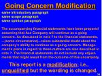 going concern modification