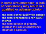 in some circumstances a lack of consistency may result in a qualified or adverse opinion