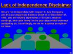 lack of independence disclaimer