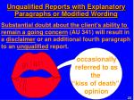 unqualified reports with explanatory paragraphs or modified wording1