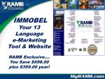immobel your 13 language e marketing tool website ramb exclusive you save 698 00 plus 399 00 year