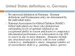 united states definitions vs germany