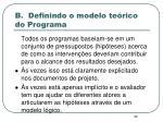 b definindo o modelo te rico do programa