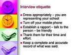 interview etiquette