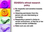 ssabsa s ethical research policy