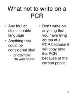 what not to write on a pcr