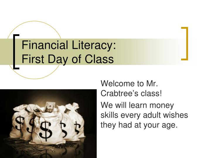 financial literacy first day of class n.