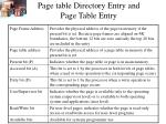 page table directory entry and page table entry