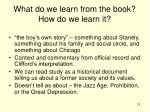 what do we learn from the book how do we learn it