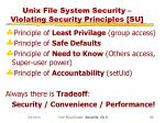 unix file system security violating security principles su