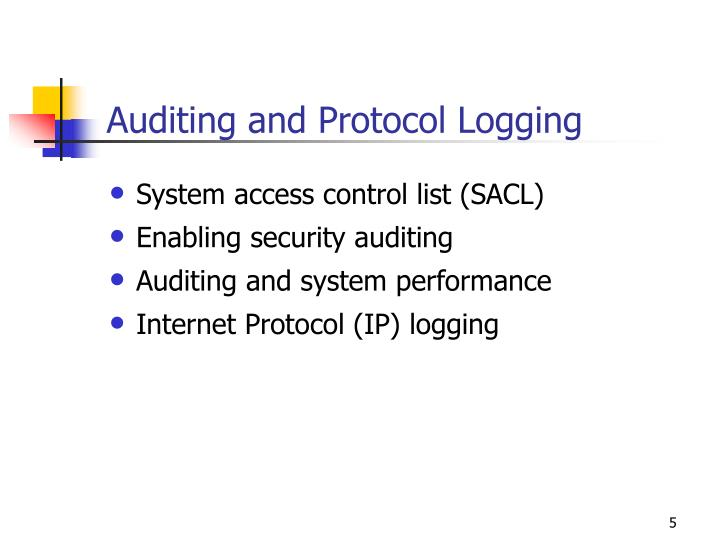 Auditing and Protocol Logging