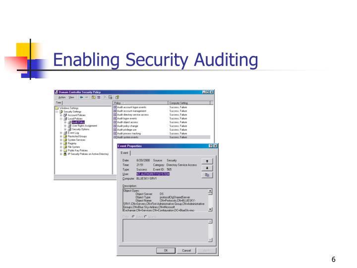 Enabling Security Auditing