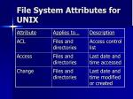 file system attributes for unix