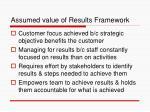 assumed value of results framework