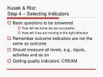 kusek rist step 4 selecting indicators