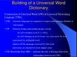 building of a universal word dictionary