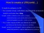 how to create a uw contd
