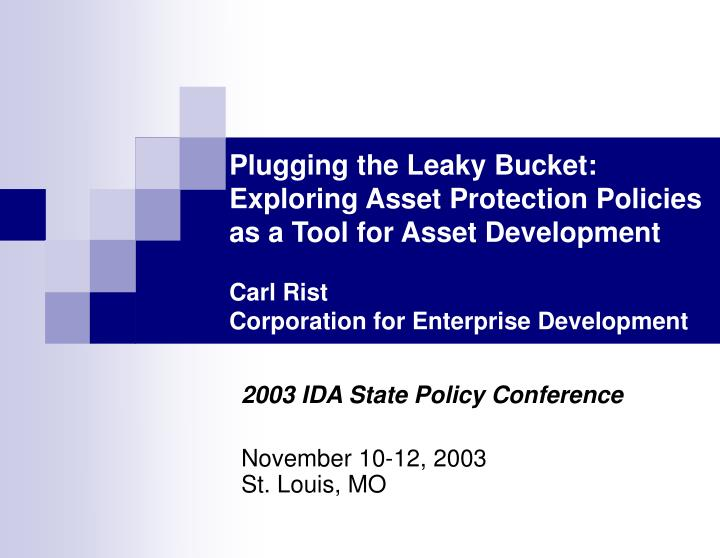 2003 ida state policy conference november 10 12 2003 st louis mo