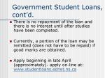 government student loans cont d