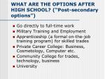 what are the options after high school post secondary options