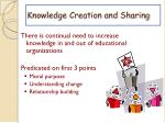 knowledge creation and sharing