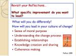 revisit your reflections what specific improvement do you want to lead