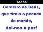 cordeiro de deus que tirais o pecado do mundo dai nos a paz