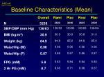 baseline characteristics mean