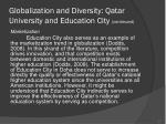 globalization and diversity qatar university and education city continued