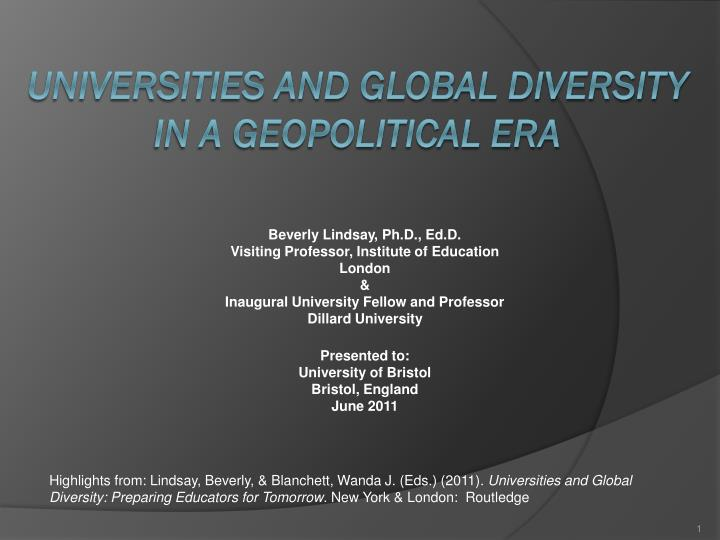 universities and global diversity in a geopolitical era n.