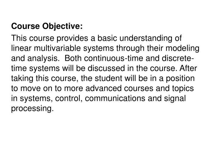 Course Objective: