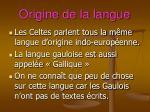 origine de la langue