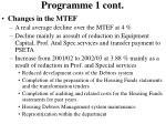 programme 1 cont