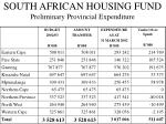 south african housing fund preliminary provincial expenditure