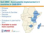qoc mnc assessments implemented in 5 countries in 2009 2010