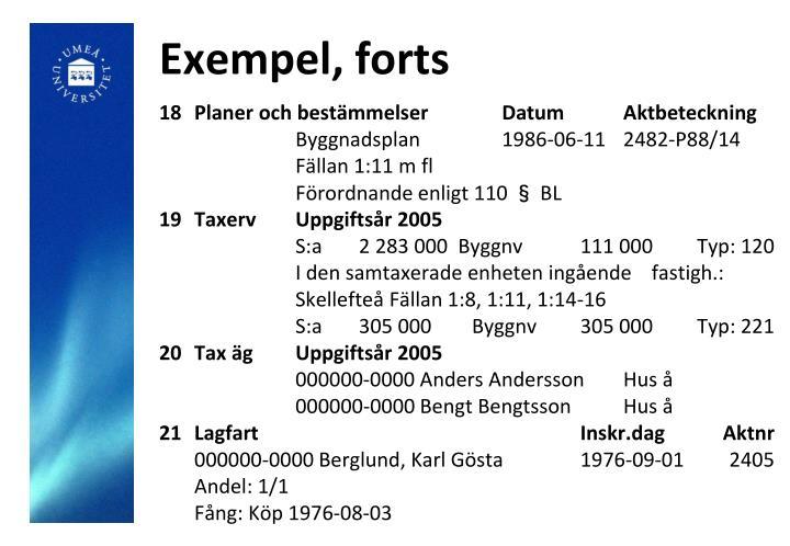 Exempel, forts