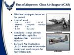 uses of airpower close air support cas