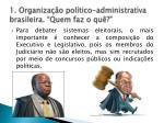 1 organiza o pol tico administrativa brasileira quem faz o qu1
