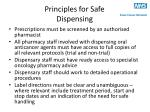 principles for safe dispensing