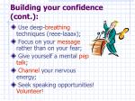 building your confidence cont
